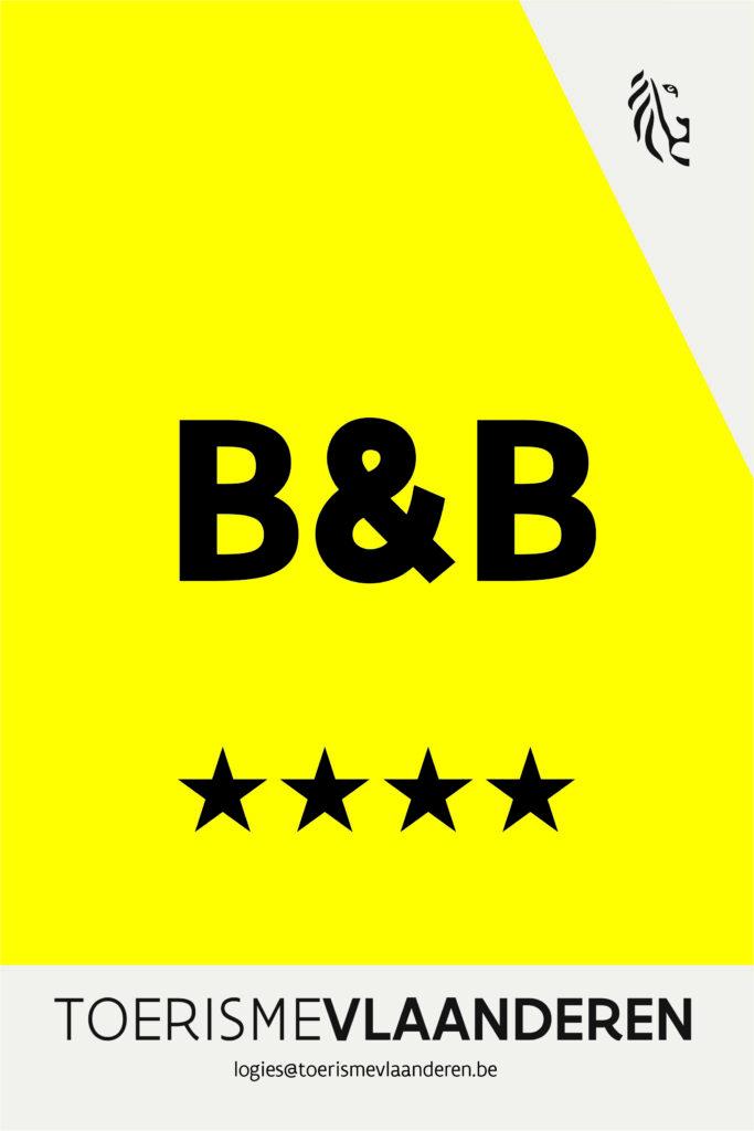 erkenningsschild 4 sterren toerisme vlaanderen voor B&B Nummer5