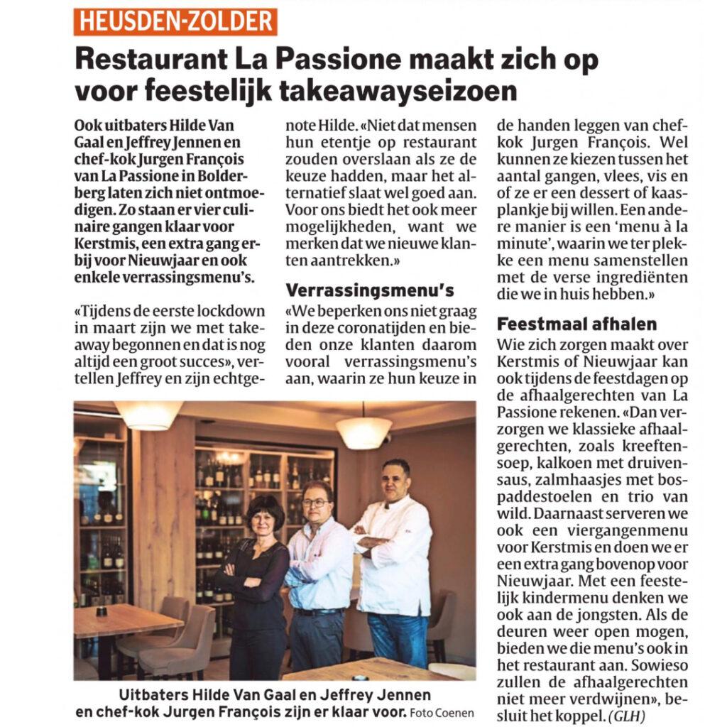 Restaurant La Passione in de pers met takeaway feestdagen